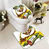 VROSELV U-shaped Toilet Mat-Soft Tropical Hawaii Hibiscus Surfing Girl Silhouette Theme 2 Piece Toilet Toilet mat