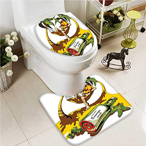 VROSELV U-shaped Toilet Mat-Soft Tropical Hawaii Hibiscus Surfing Girl Silhouette Theme 2 Piece Toilet Toilet mat by VROSELV