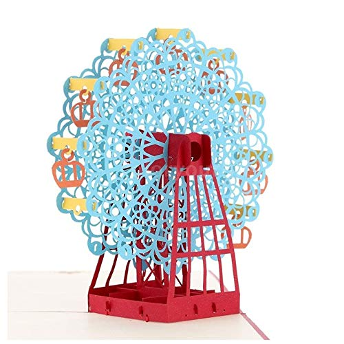 Design Postcard - 3d Handmade Pop Up Ferris Wheel Design Birthday Card Kirigami Folding Christmas Halloween - Card Design Postcard Birthday Postcards Cards Invitations Postcard Card Origami Greet -