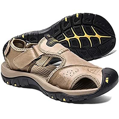 visionreast Mens Leather Sandals Outdoor Hiking Sandals Waterproof Athletic Sports Sandals Fisherman Beach Shoes Closed Toe Water Sandals Yellow Size: EU40 / 7 (D) M US_