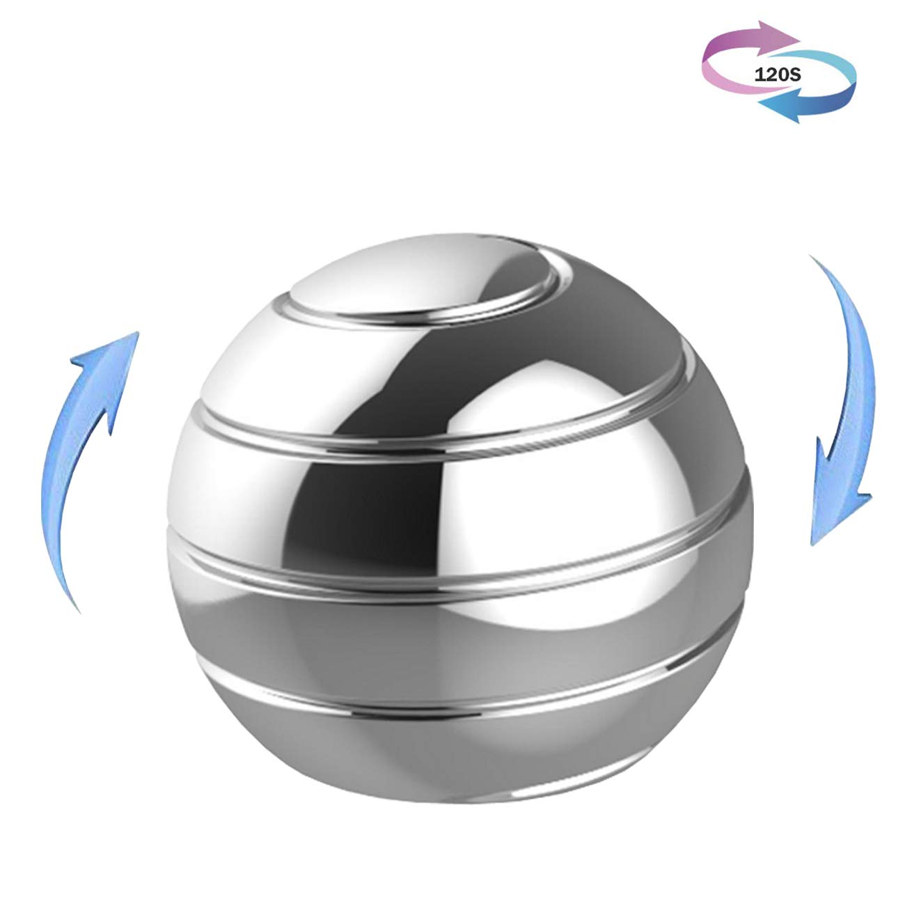 ilmobile Kinetic Desk Fidget Toy, Optical Illusion Metal Spinning Fidget Ball for Adults & Kids, Stress Relief Toys for ADHD & Eliminate Anxiety & Keep Focus & Relaxing (Silver)
