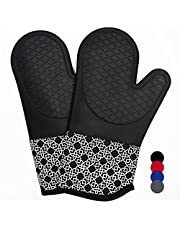 Silicone Cotton Oven Mitts with Heat Resistant 500 F Non-Slip Set of 2, Oven Gloves and Pot Holders Kitchen Set for BBQ Cooking Baking Machine Washable