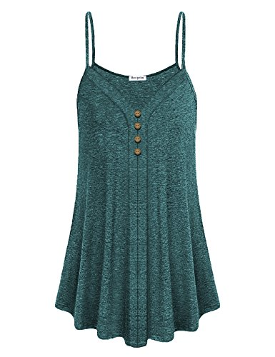- Becanbe Tunic Tank Tops for Women,Ladies Cute V Neck Sleeveless Spaghetti Strap Blouse Chic Spring Summer Loose A-line Flowy Business Casual Camisole Office Wear(Green,Large)