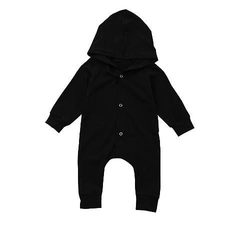 chshe bebé sólido color sudadera con capucha Button Down negro Pelele bebé recién nacido infantil ilustrada
