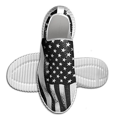 Ägg Ägg Svart Nät Usa Amerika Flagga Kvinna Man Loafers Löparskor Andas Mesh Utomhus Sport Promenadskor Vita