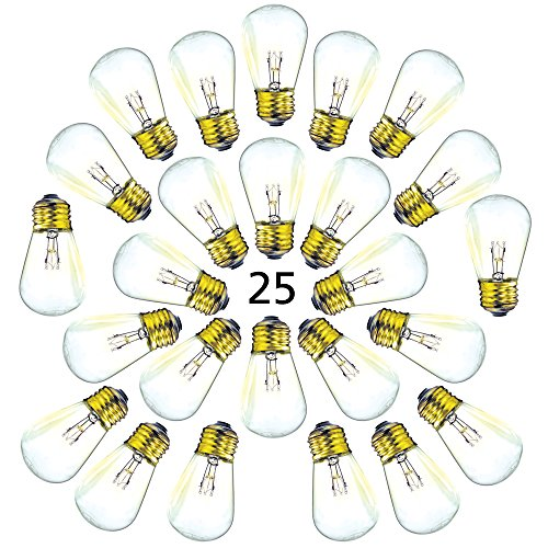 25 Pack of S14 Light Bulbs for String Lights - Fits E27 and E26 Base - 11 Watt Warm Incandescent Replacement Clear Glass Bulbs (Soft Pink Bulb Globe)