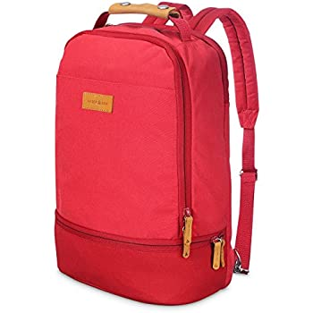 Amber & Ash Laptop Backpack for Business,College and Travel with Many Pockets, Water Resistant Bag for 15 Inch Notebook, Genuine Leather Handle,Comfortable Cushioning Straps for Men and Women, Red