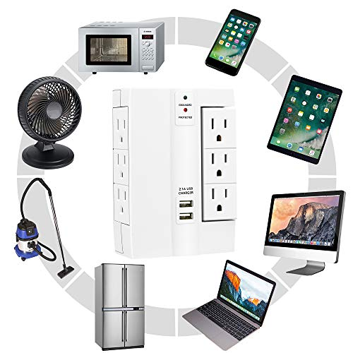 Wall Surge Protector, Lovin Product Multi Plug Outlet Wall Tap Power Strip with 2 USB Ports, 6 Protected Outlets (3 Swivel Outlets), Grounded Indicator, ETL Certified Wall Mount Socket – White by LOVIN PRODUCT (Image #4)