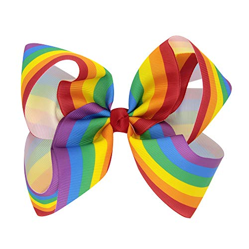 Floral Fall Girls Holiday Large Bows with Alligator Clips Boutique Hair Bow BY-06 (Rainbow) ()