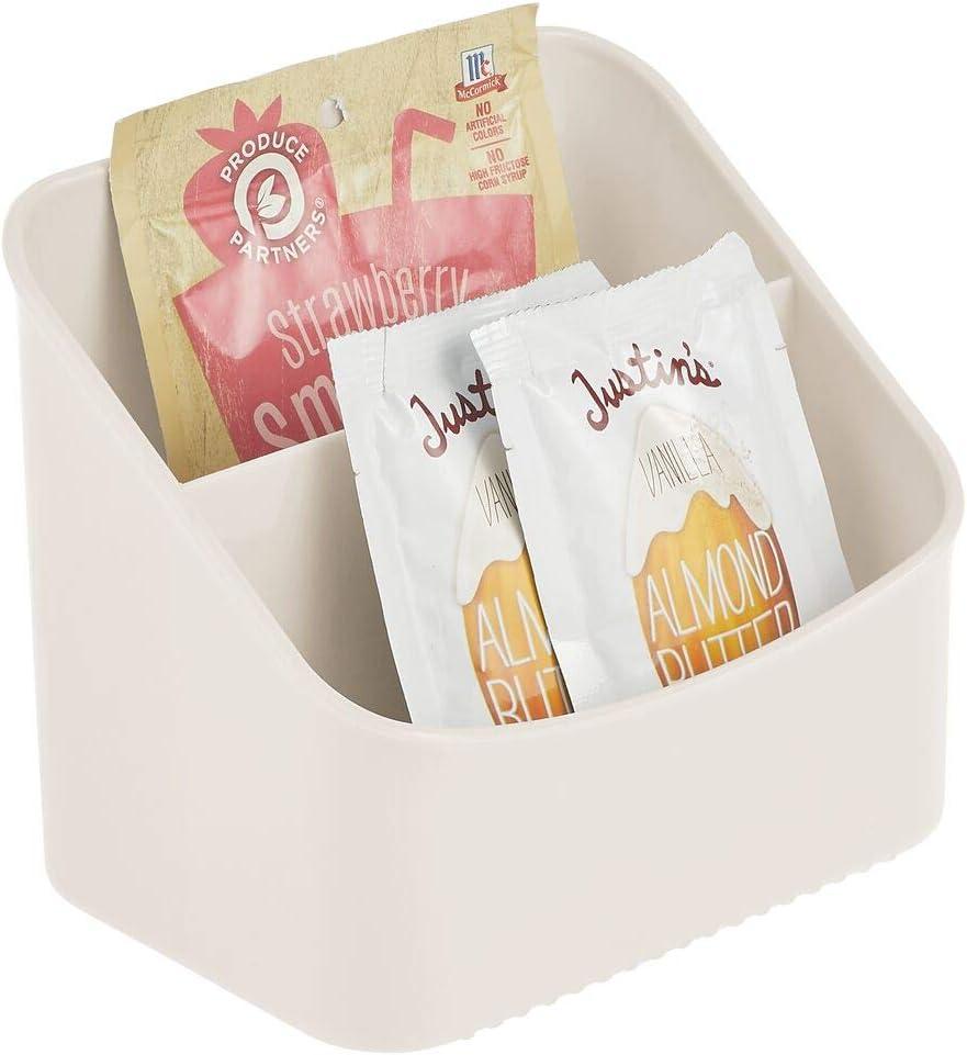 mDesign Organizador de cocina – Caja organizadora para guardar sopas en sobre, mezclas de especias y más – Estante especiero de plástico con dos compartimentos para armario y encimera – crema: Amazon.es: Hogar