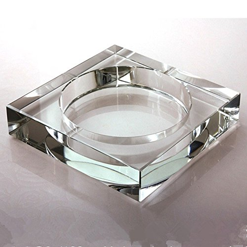 Glass Ashtray Square - Square Glass Ashtray, -BestCatgift Office Decoration Glasses Ashtrays,Size 10 CM X 10 CM X 3 CM, Simple Crystal Ashtray. - [A]