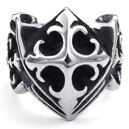 Aomily Jewelry, Mens Finger Rings Stainless Steel Black Silver Cross Crucifix Shield Size 9 (Chevy 1500 Bull Bar compare prices)