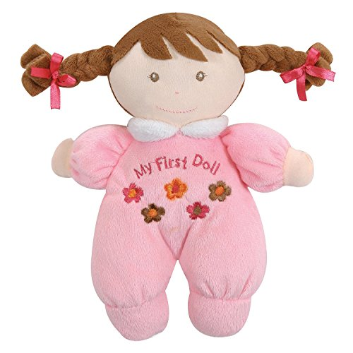 Stephan Baby Soft Plush My First Doll with Fair Complexion and Brown Hair, Pastel Pink