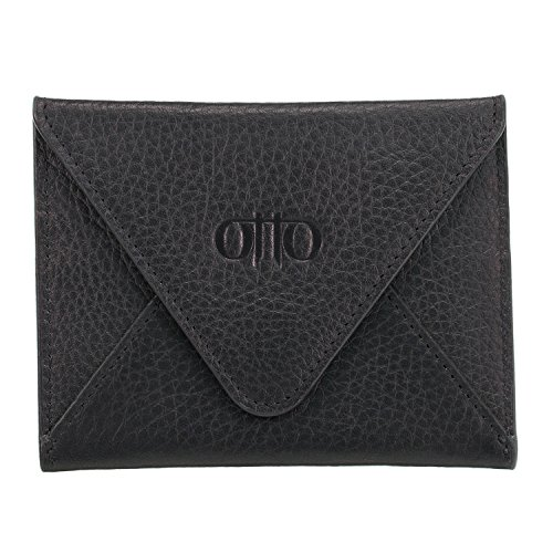 Otto Genuine Leather Wallet - Multiple Slots Money, ID, Cards, Smartphone, RFID Blocking - Unisex, One Size, Black (Beautiful Full Ostrich)