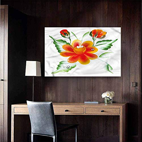 Wall Paintings self-Adhesive Garden Daffodils in Watercolors Art Mural Decals Size : W48 x H32