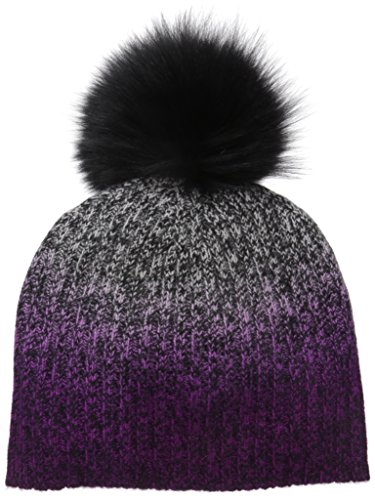 Sofia Cashmere Women's 100% Cashmere Dip Dye Marl Hat with Dyed Fox Fur Pom, Black/Pink Combo, One by Sofia Cashmere