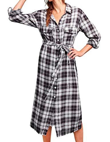 (FANCYINN Shirt Dresses for Women Button Down Long Sleeve Plaid Checkered Dress with Belt Black S)
