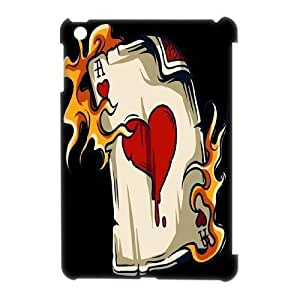 wugdiy Custom Hard Plastic Back 3D Case Cover for iPad Mini with Unique Design Fire Heart