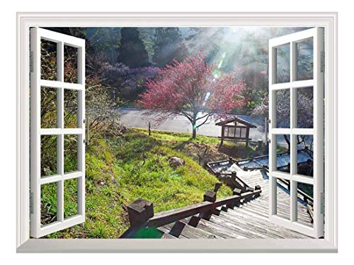 White Window Looking Down Into a Stairway That Leads to a Japanese Garden with a Kiosk Wall Mural