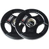 Bodypower Rubber Enc Tri Grip Olympic (2 Inch) Weight Plates - 5Kg (x2)