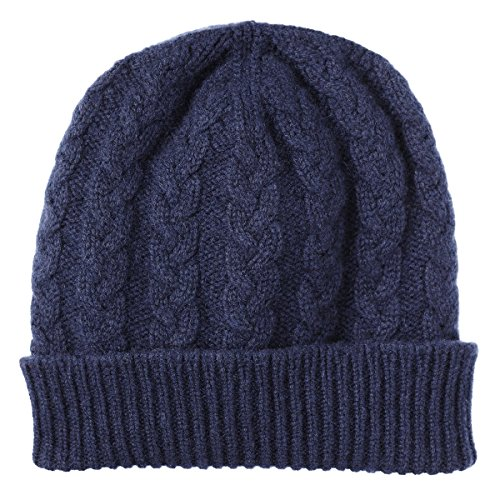 Pure Cashmere Cable Knit Beanie Hat made in Scotland (Navy)