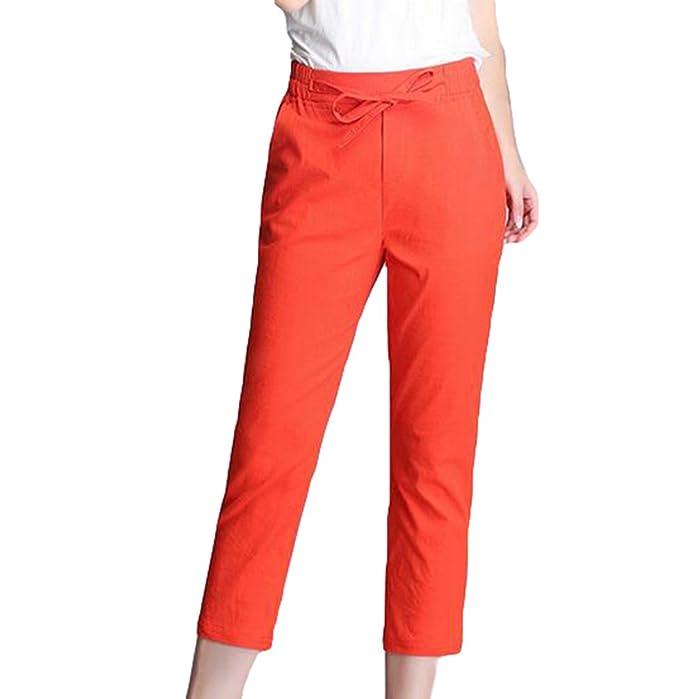 YiLianDa Damen Bermuda Shorts im Chino Style Elegante kurze Hose Orange M fcbced5465