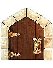 Mini sprookje duurzame deur binnenplaats decoratie prachtige houten handgesneden deurgrepen sprookje poort