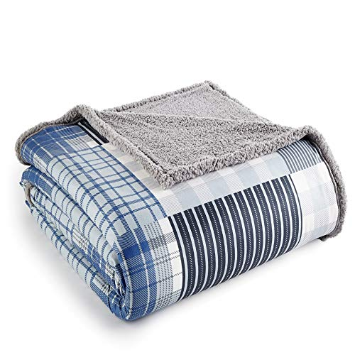 Micro Flannel Shavel Reversible Plaid Patterned Luxuriously Super Soft, Comfortable & Warm Sherpa Blanket King, 90x104 - Smokey Mt. Plaid