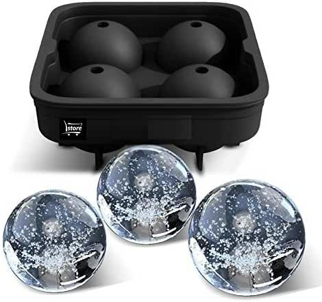 L.Store (R) Ice Ball Maker Mold - 4 Cups Spherical Ice Balls- Black Flexible Silicone Ice Tray - Molds 4 X 4.5cm Round Ice Ball Spheres