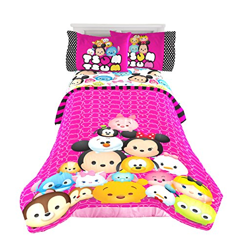 Jay Franco Tsum Tsum Faces Twin/Full Comforter - Super Soft Kids Reversible Bedding Features Your Favoirte Tsum Tsum Characters - Fade Resistant Polyester Microfiber Fill (Official Tsum Tsum Product)