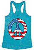 Awkward Styles Women's Peace Flag Patriotic Burnout Racerback Tank Tops American Flag Peace Sign Blue XL