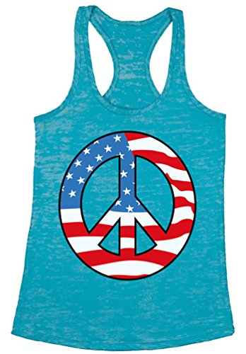 Awkward Styles Women's Peace Flag Patriotic Burnout Racerback Tank Tops American Flag Peace Sign Blue M