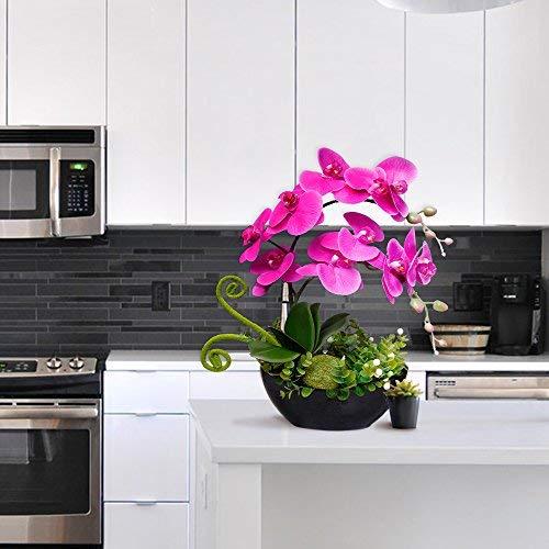 YILIYAJIA-Artificial-Orchid-Bonsai-Fake-Flowers-with-Vase-Arrangement-5-Head-PU-Phalaenopsis-Bonsai-for-Home-Table-DecorBlack-Vase
