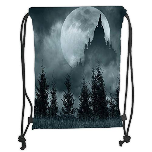 Halloween,Magic Castle Silhouette over Full Moon Night Fantasy Landscape Scary Forest,Grey Pale Grey Soft Satin,5 Liter Capacity,Adjustable String -