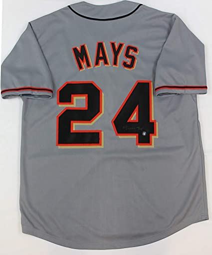 uk availability 19524 147bb Willie Mays Autographed Gray San Francisco Giants Jersey ...