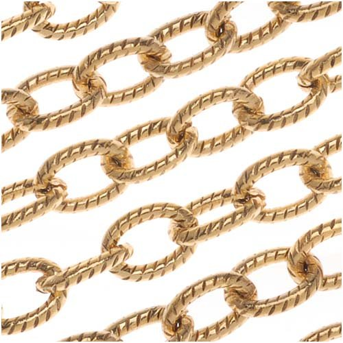 (Nunn Design Antiqued Gold Plated Textured Cable Chain by The Foot)