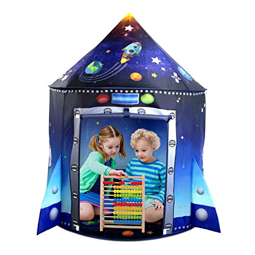 Secura Rocket Ship Kids Play Tent - Unique Space and Planet Playhouse Foldable Pop Up Tent for Indoor & Outdoor