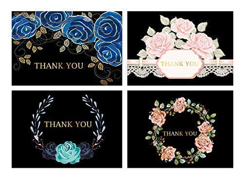 Prostar 100 Floral Gold Foil Blank Folded Stationery Thank You Cards with 4x6 Envelopes and Sticker(Bulk). Great for Baby Shower, Casual, Business, Wedding, and Graduation.