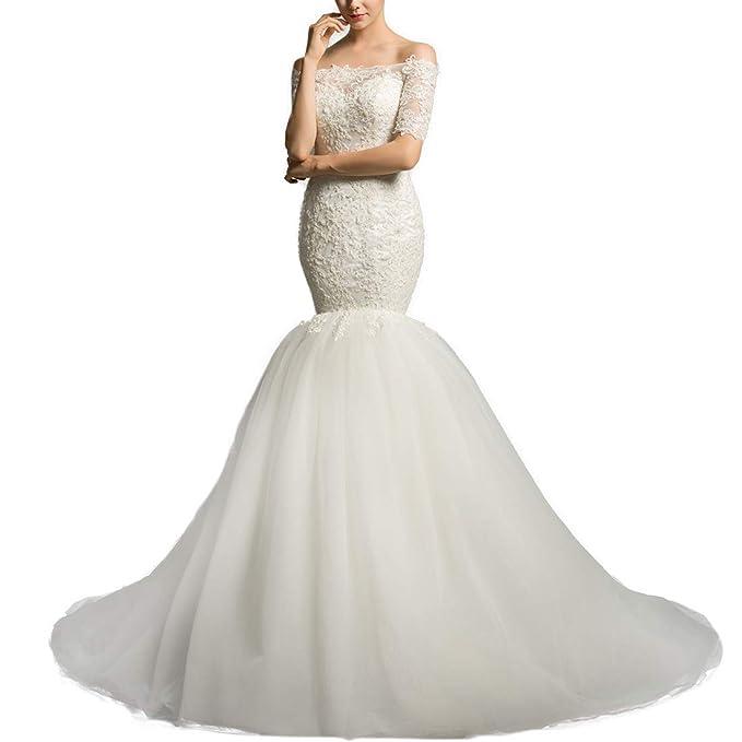 Amazon.com: Vestido blanco de sirena con manga de encaje ...