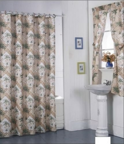 Shower Curtains Window Curtains (California Palm Design Shower Curtain Drapes + Window Set w/ Liner+Rings NEWNEW!!!)