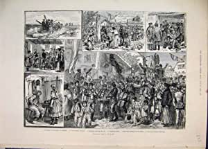Old Original Antique Victorian Print 1884 Election Hungary Voters Procession 33Mar1
