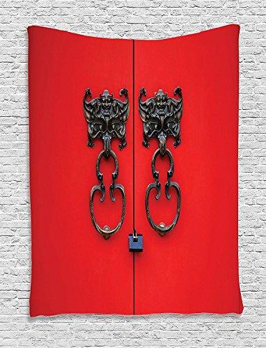 Dolphin Design Door Knocker (Supersoft Fleece Throw Blanket Rustic Collection Bat Door Knocker on Door Entrance Design and Antique Ethnic Cultural Artwork Pattern Red and)