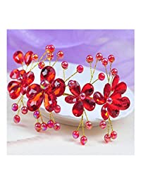 XY Fancy Korea Red Crystal Rhinestone Wedding Flower Pearls Hair Clip Hair Comb For Lady Bride