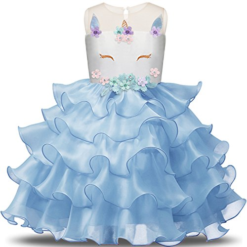 Dress Ruffle Girls Blue (NNJXD Girl Unicorn Flower Ruffles Cosplay Costume Pageant Party Princess Dress Size (140) 6-7 Years Blue)