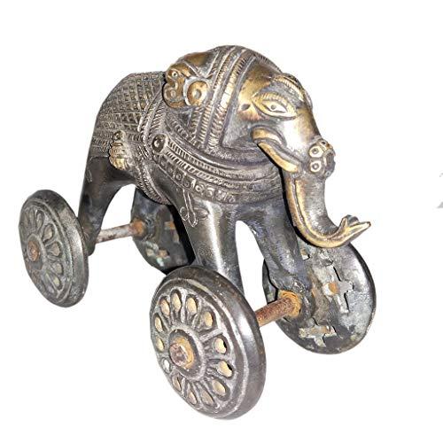 Laxman Art Antique Style Elephant on Wheels - Brass Statue