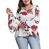 Flurries Women Dress, Fashion Women Plus Size Women's Bell Sleeve Loose Polka Flower Shirt Ladies Casual Blouse Tops (2XL, White)