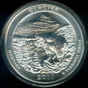 2011 Glacier National Park 5 oz Silver ATB Coin