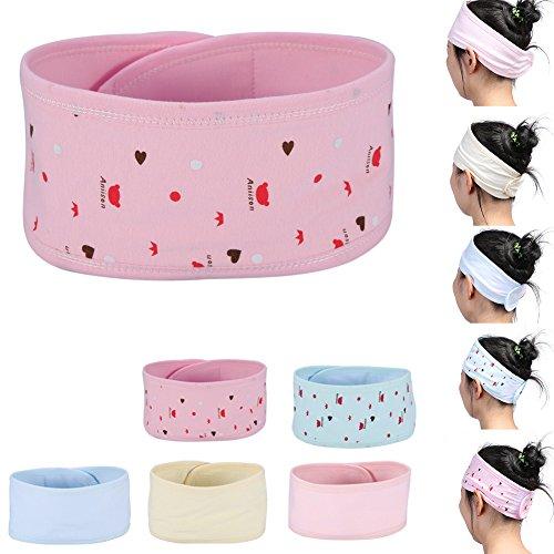 [Beauty Spa Headband, 5 Pieces Women Postpartum Elastic Head Scarf Wash Face Shower Makeup Running Sport Ear Hairlace] (Don Post Helmet)