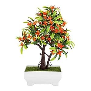 GLOGLOW Artificial Bonsai Flower Pot Fake Silk Flower Tree Plant for Wedding Holiday Home Decor 1