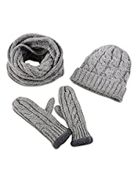 Secret Felicity 3pcs Soft Warm Thick Knitted Hat Gloves & Scarf Winter Set